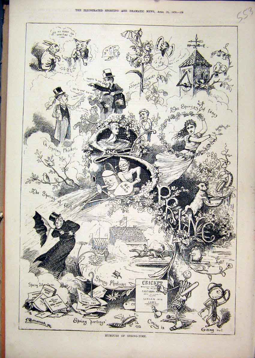 Print 1879 Humours Spring Time Wind Cricket Tower Bird Fox 53Mar1 Old Original