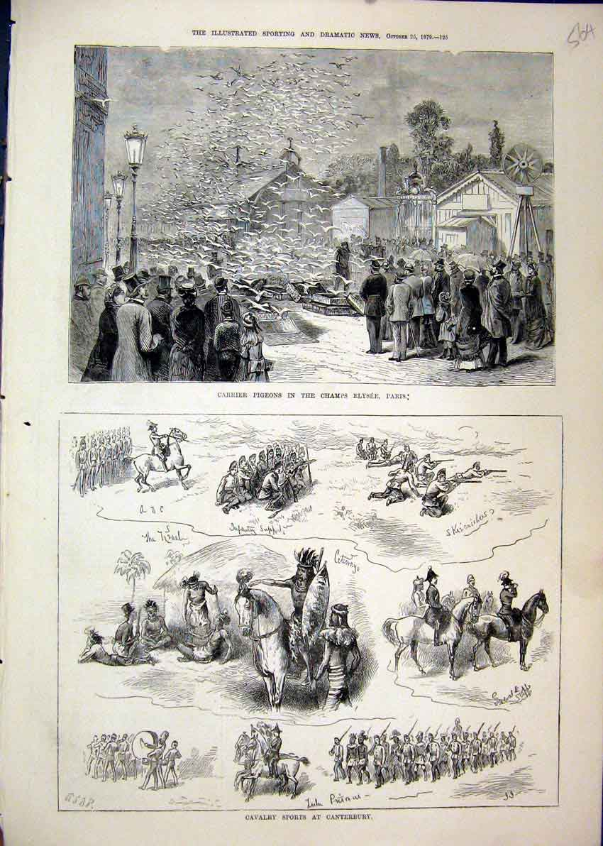 Print 1879 Carrier Pigeons Champs Elysee Paris Cavalry Sports 64Mar1 Old Original