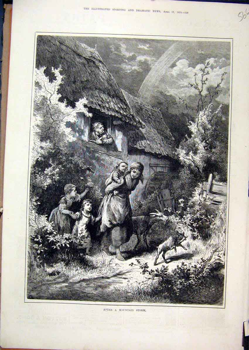 Print 1879 House Scene Mountain Storm Family Country Goat 66Mar1 Old Original