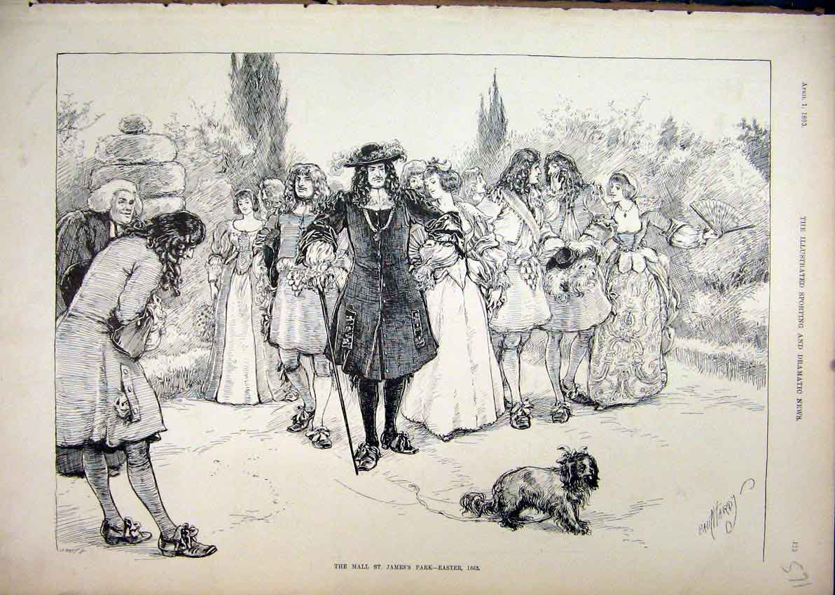 Print 1893 Mall James Park Easter Time Romance Dog 71Mar1 Old Original