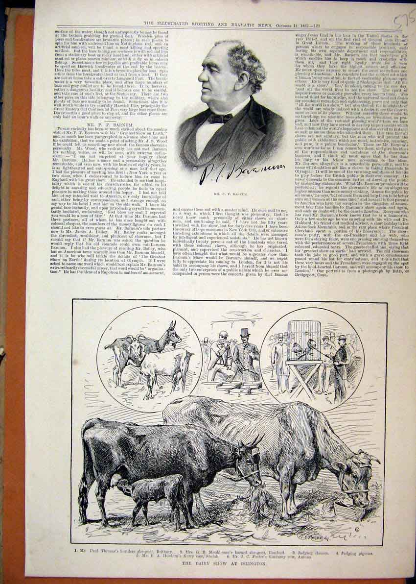 Print Portrait Barnum 1889 Dairy Show Islington Cow Goat 75Mar1 Old Original