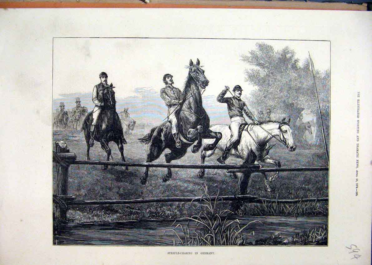 Print 1874 Steeple-Chasing Germany Horses Jumping 94Mar1 Old Original