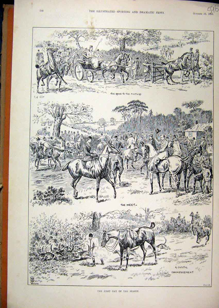 Print Fox Hunting Season 1895 Horse Carriage Hounds 96Mar1 Old Original