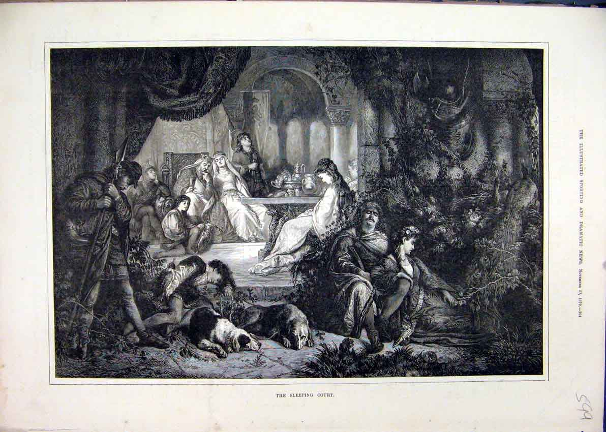 Print 1879 Sleeping Court Man Woman Dogs Theatre Scene 99Mar1 Old Original