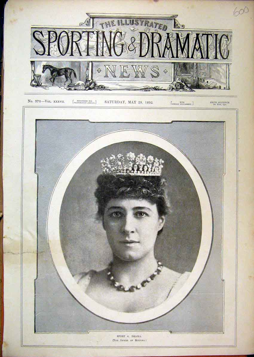 Print 1892 Portrait Woman Crown Sport Drama Milford 00Mar1 Old Original