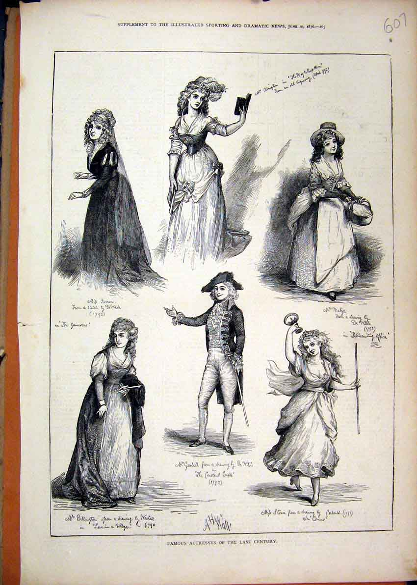 Print 1876 Famous Actresses Last Century Beautiful Woman 07Mar1 Old Original