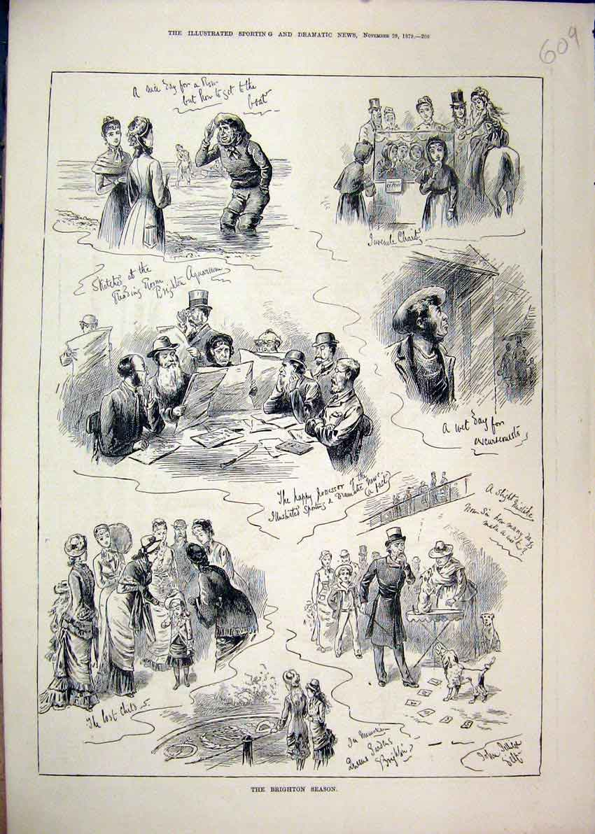 Print 1879 Brighton Season Lost Child Seaside Men Reading 09Mar1 Old Original
