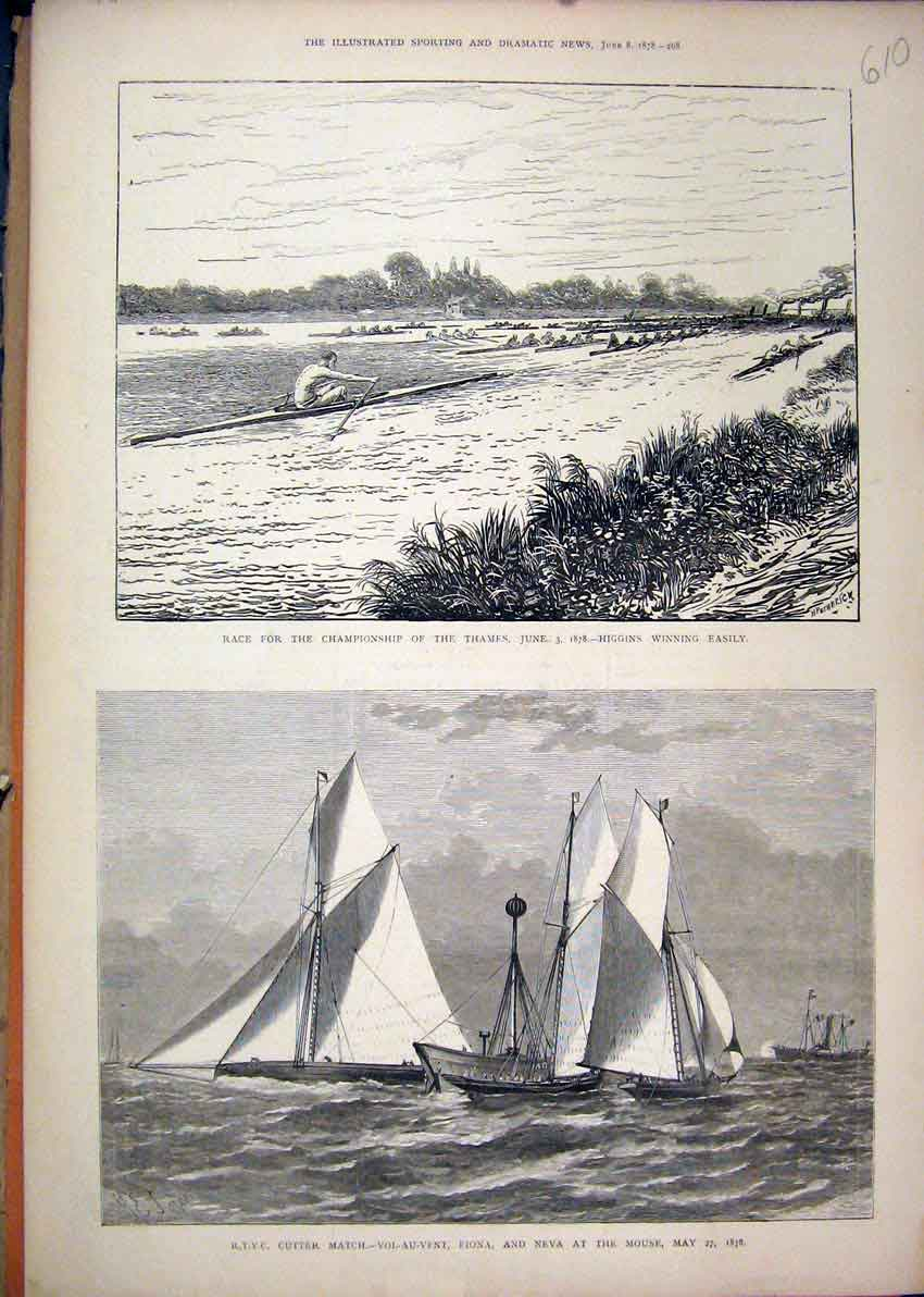 Print 1878 Boat Race Thames River Cutter Match Fiona Neva 10Mar1 Old Original