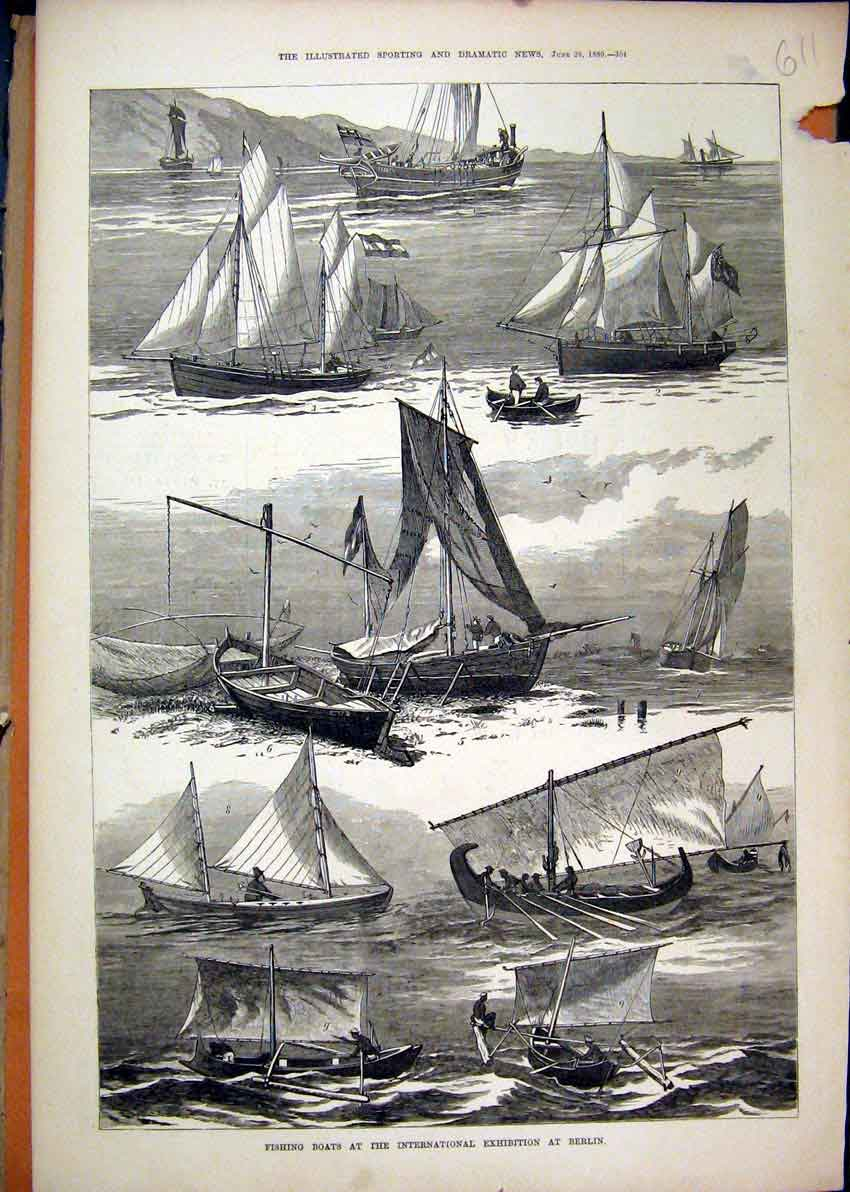 Print 1880 Fishing Boats International Exhibition Berlin Sea 11Mar1 Old Original