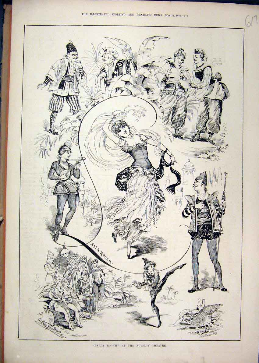 Print Dalla Rookh 1884 Novelty Theatre Dancing 17Mar1 Old Original
