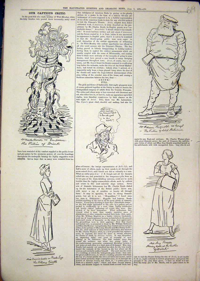Print 1879 Comedy Sketches Man Snakes Women Bag Fat Man 19Mar1 Old Original