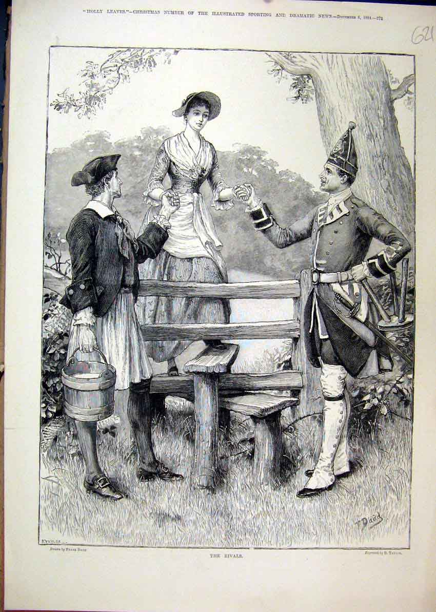 Print 1884 Men Woman Wooden Fence Style Romance 21Mar1 Old Original
