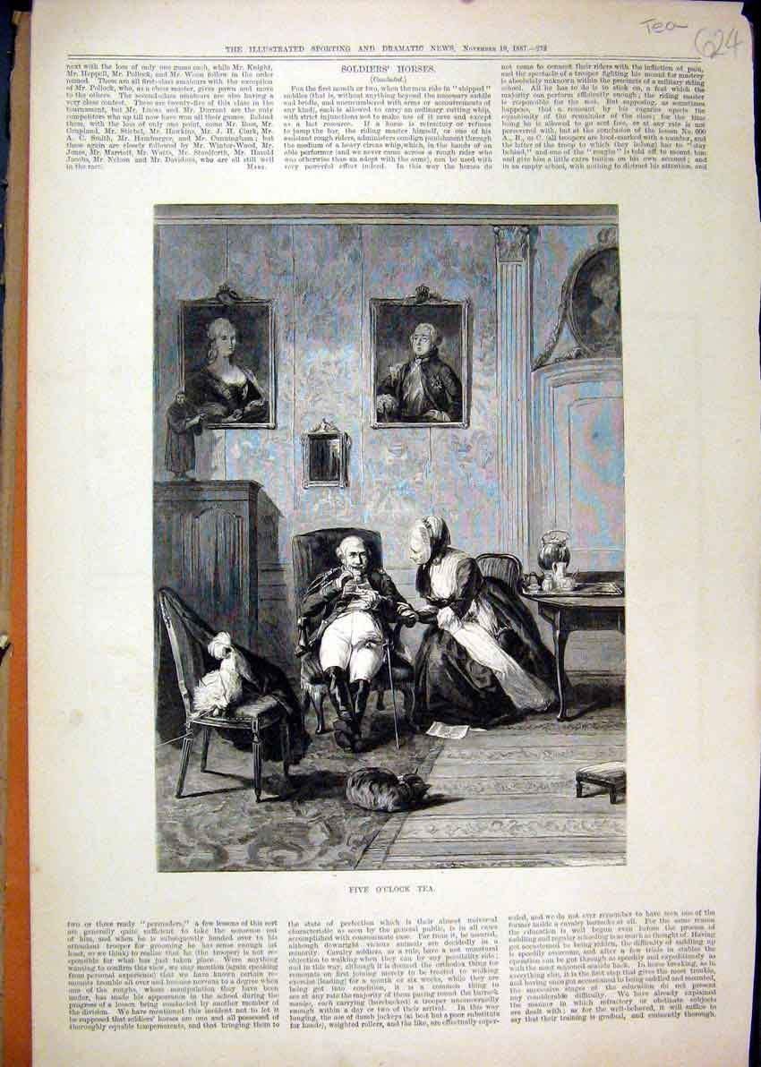 Print 1887 Man Woman Tea-Time Romance Cat Dog 24Mar1 Old Original