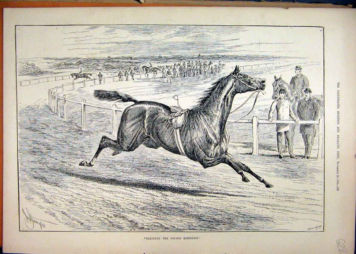 Print 1886 Horse Racing Galloped Riderless Course 28Mar1 Old Original