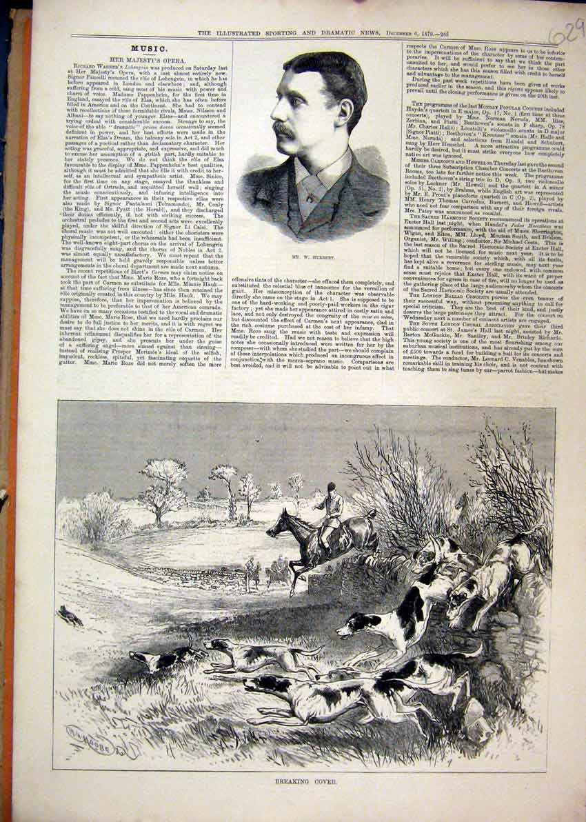 Print 1879 Portrait Herbert Fox Hunting Horses Dog Jumping 29Mar1 Old Original