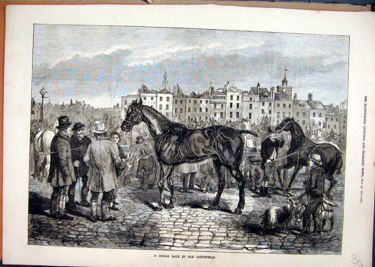 Print 1877 Horse Sale Smithfield Men Building Street Scene 33Mar1 Old Original