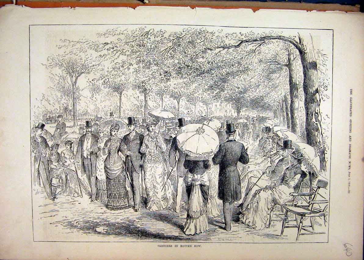 Print 1880 Sketches Rotten Row Romance Trees Parasol 40Mar1 Old Original