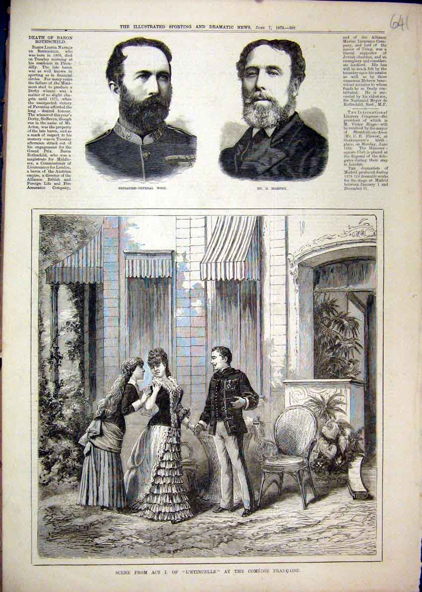 Print 1879 L'Etincelle Comedie Francaise Theatre Marston Wood 41Mar1 Old Original