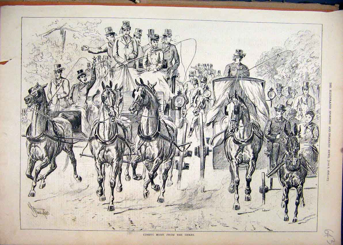 Print Horse Carriage 1878 People Home Derby Race Course 43Mar1 Old Original