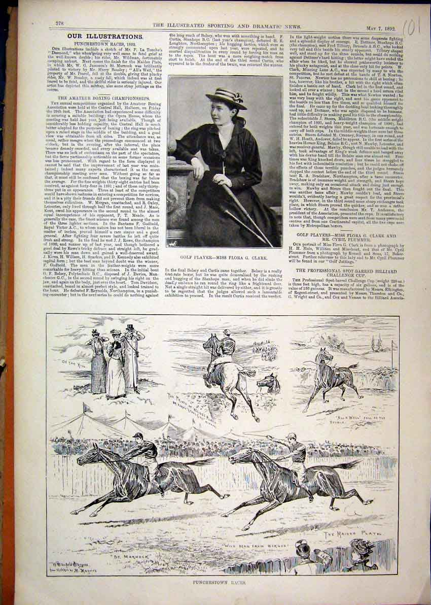 Print 1892 Golf Player Flora Clark Punchestown Horse Races 01Mar1 Old Original