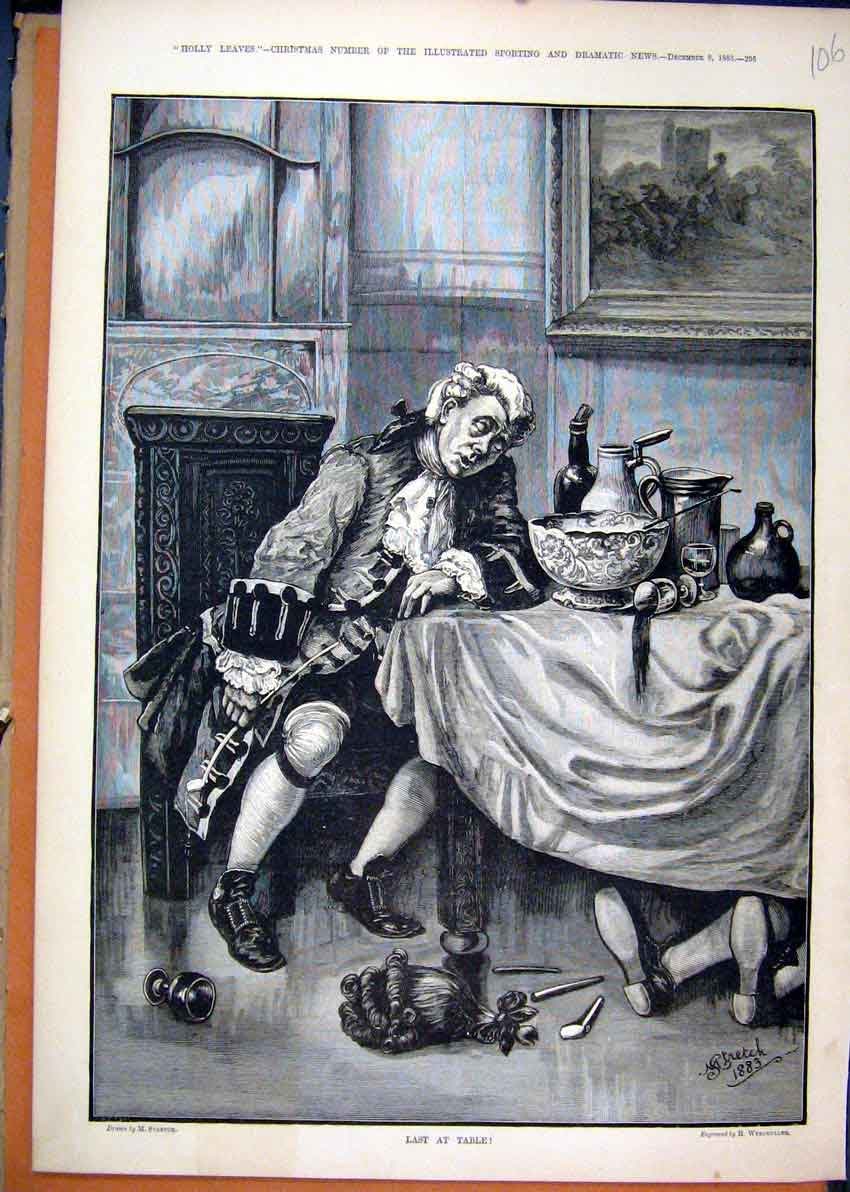 Print 1883 Man Sleeping Dinner Table Lying Drunk Art 06Mar1 Old Original