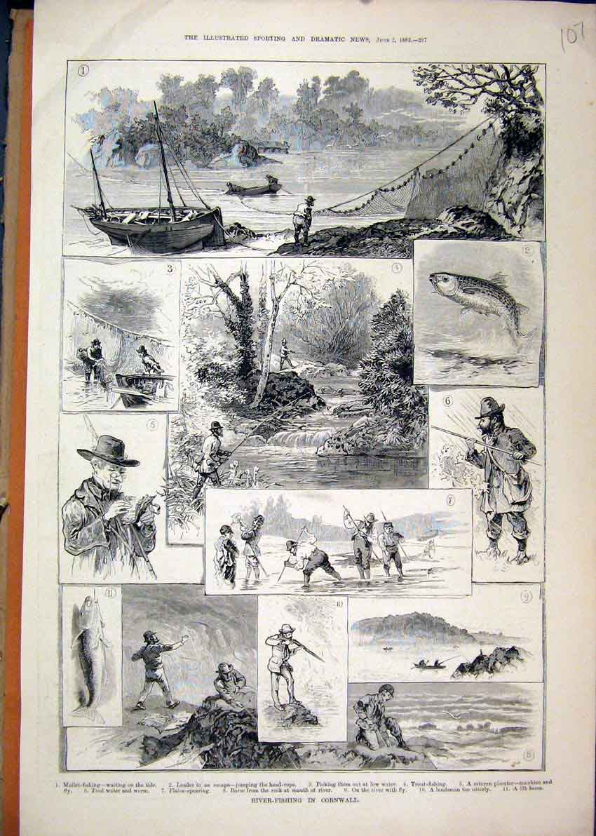 Print River-Fishing Cornwall 1883 Trout Barse Plaice Spearing 07Mar1 Old Original
