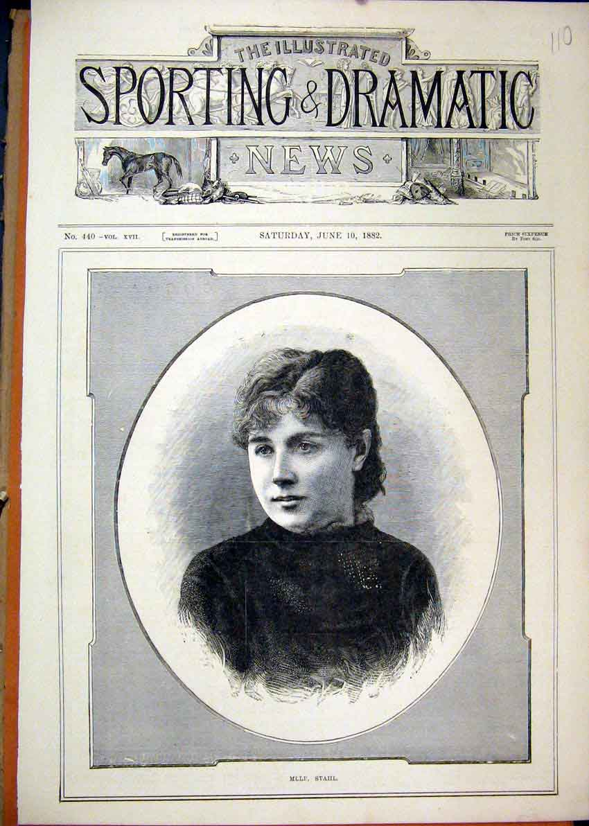 Print 1882 Portrait Mille Stahl Beautiful 10Mar1 Old Original