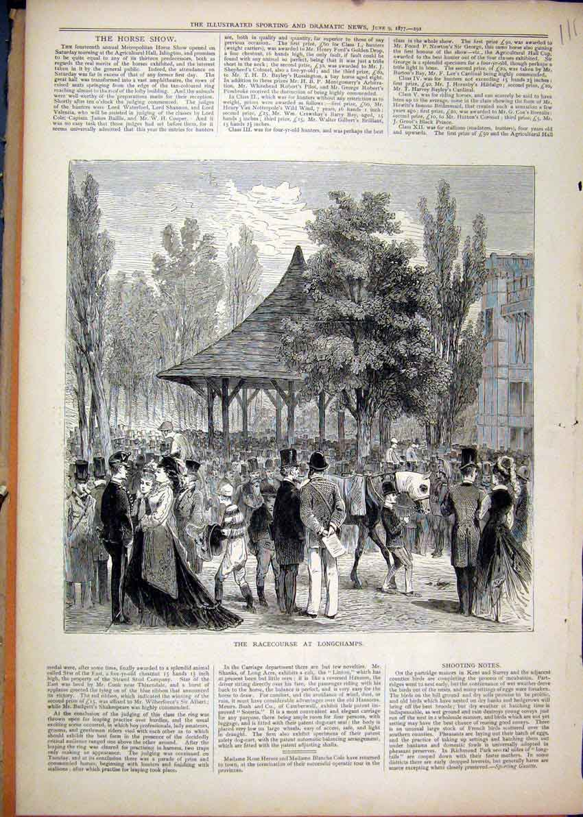 Print Racecourse Longchamps 1877 Horse People Trees Country 11Mar1 Old Original