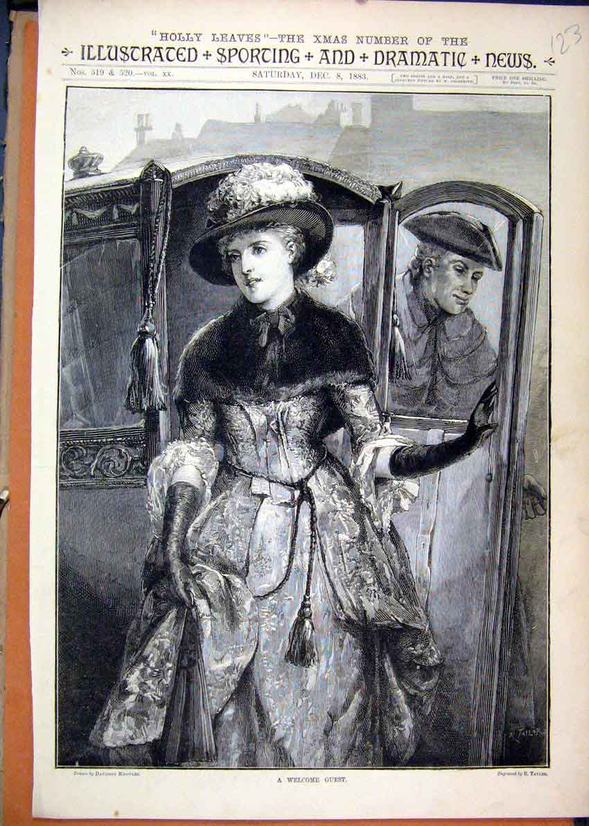 Print Holly Leaves 1883 Woman Guest Arriving Carriage 23Mar1 Old Original