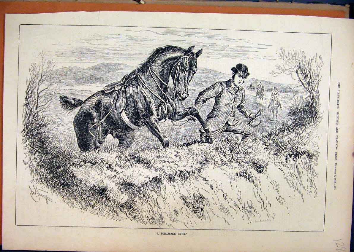 Print 1883 Man Horse Jumping Fence Country Scene 28Mar1 Old Original