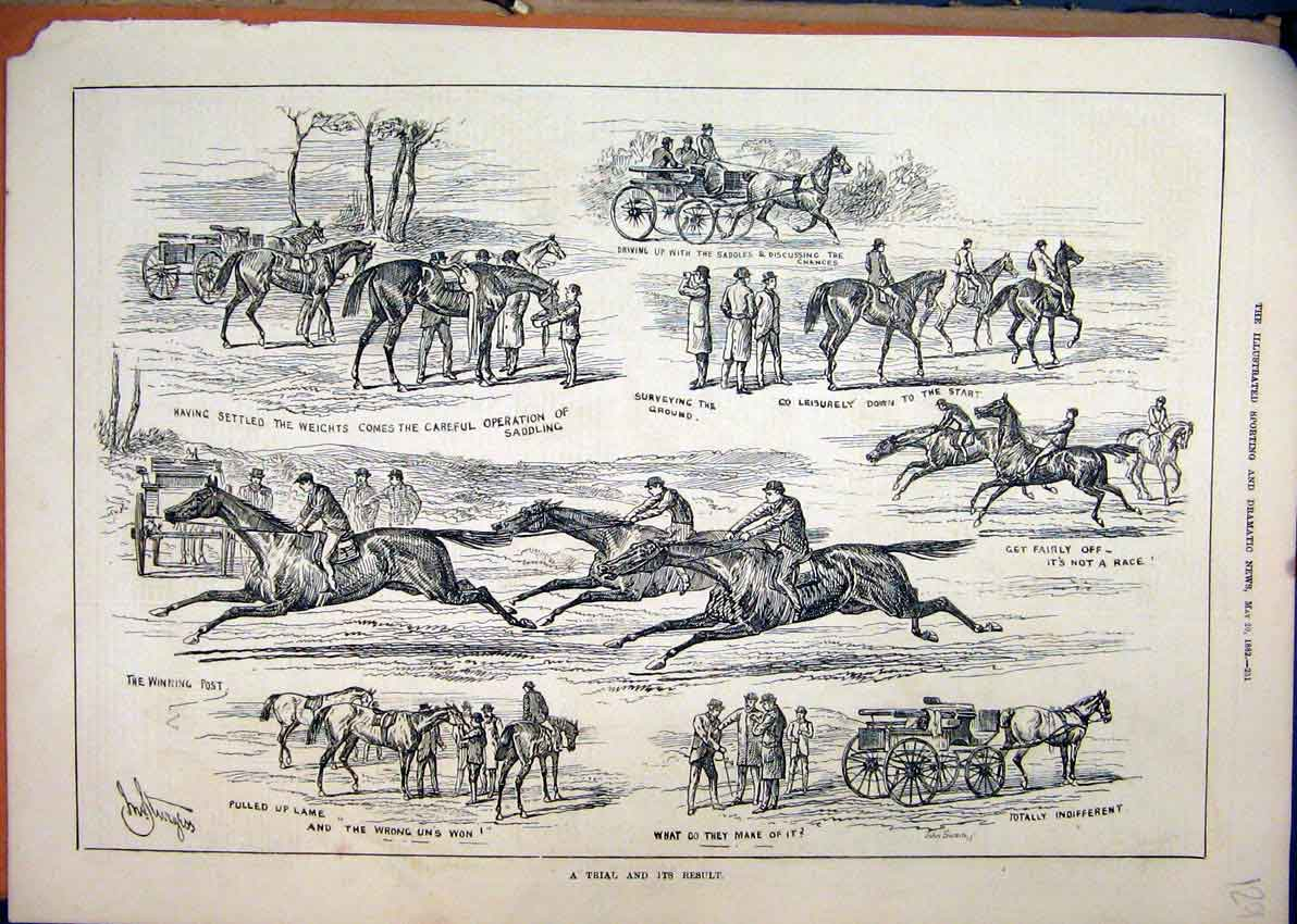 Print 1882 Horse Racing Carriage Saddling Country 29Mar1 Old Original