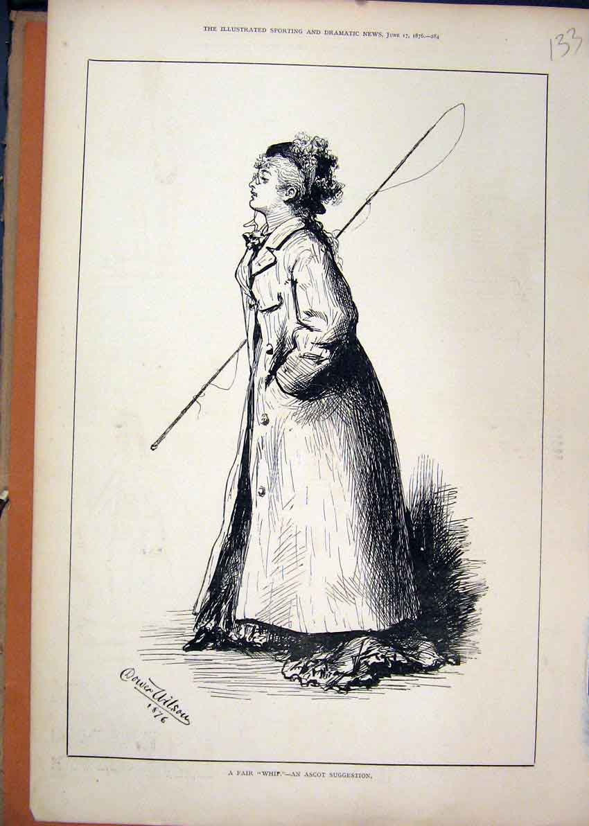 Print 1876 Portrait Woman Long Coat Whip Ascot Races 33Mar1 Old Original