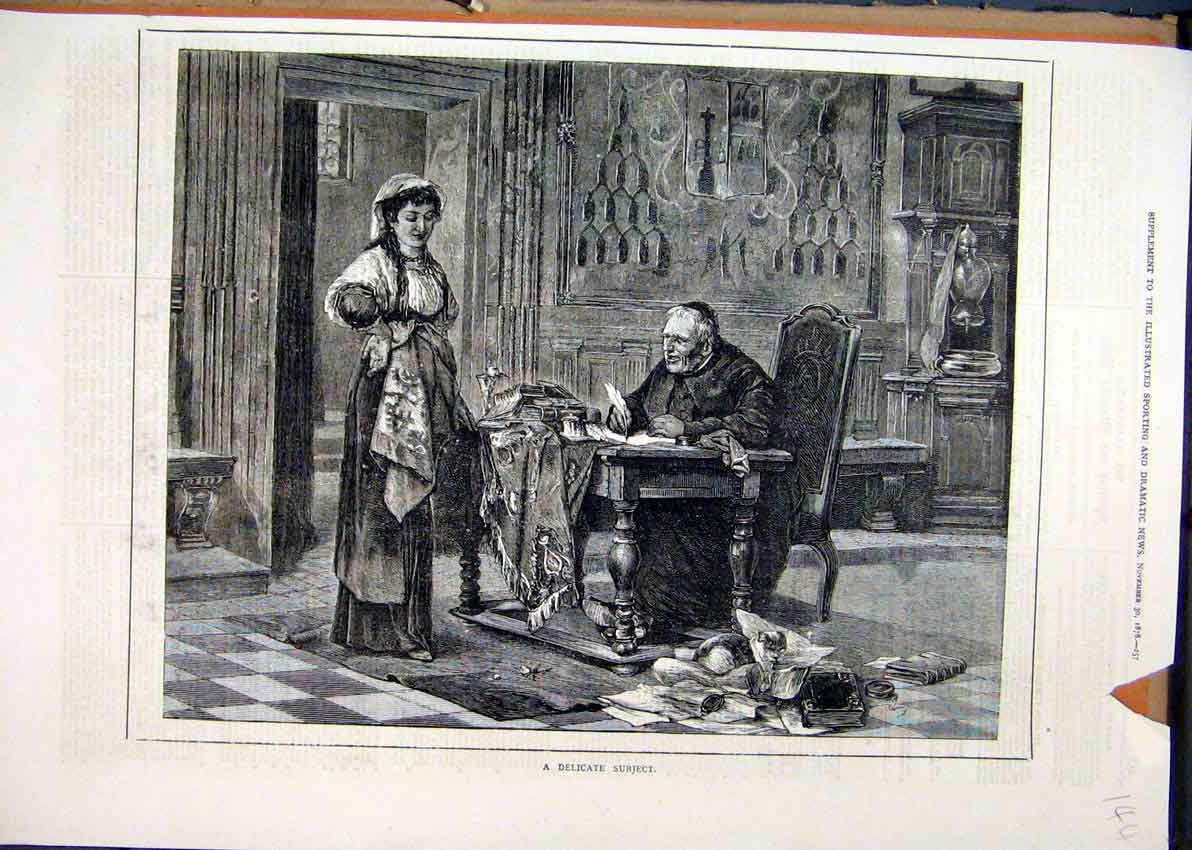 Print 1878 Catholic Priest Writing Table Mess Woman 44Mar1 Old Original