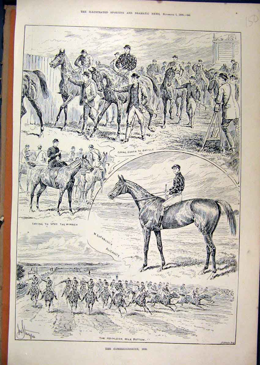 Print 1890 Cambridgeshire Horse Race Abingdon Mile Alicante 50Mar1 Old Original
