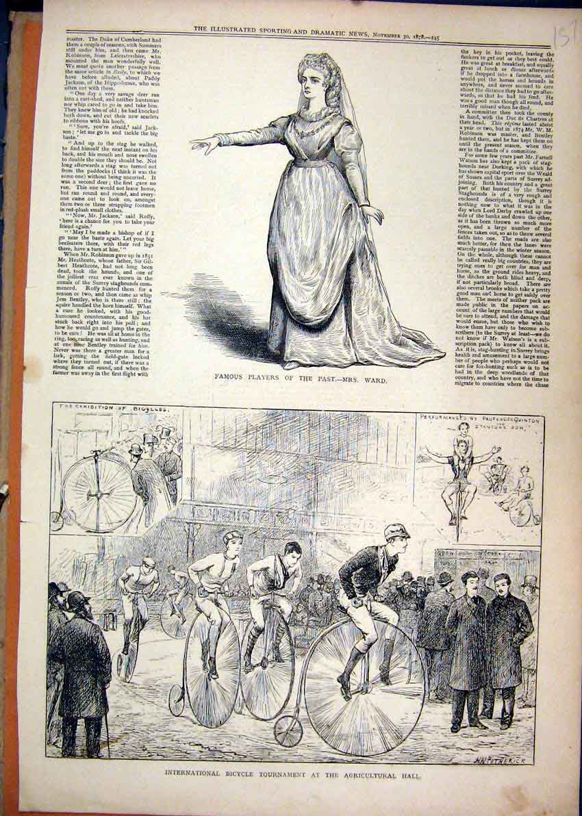 Print 1878 Bicycle Tournament Agricultural Hall Ward Player 57Mar1 Old Original