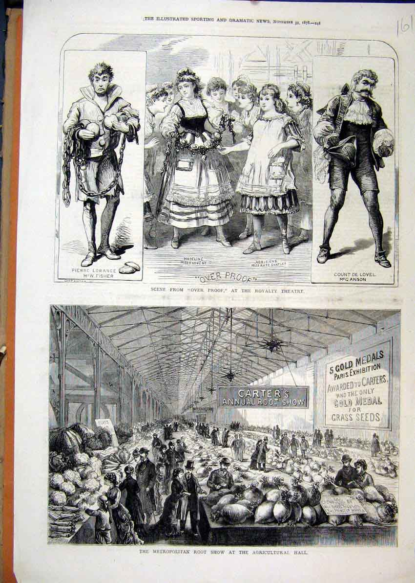 Print Scene Over Proroyalty Theatre 1878 Root Show 61Mar1 Old Original
