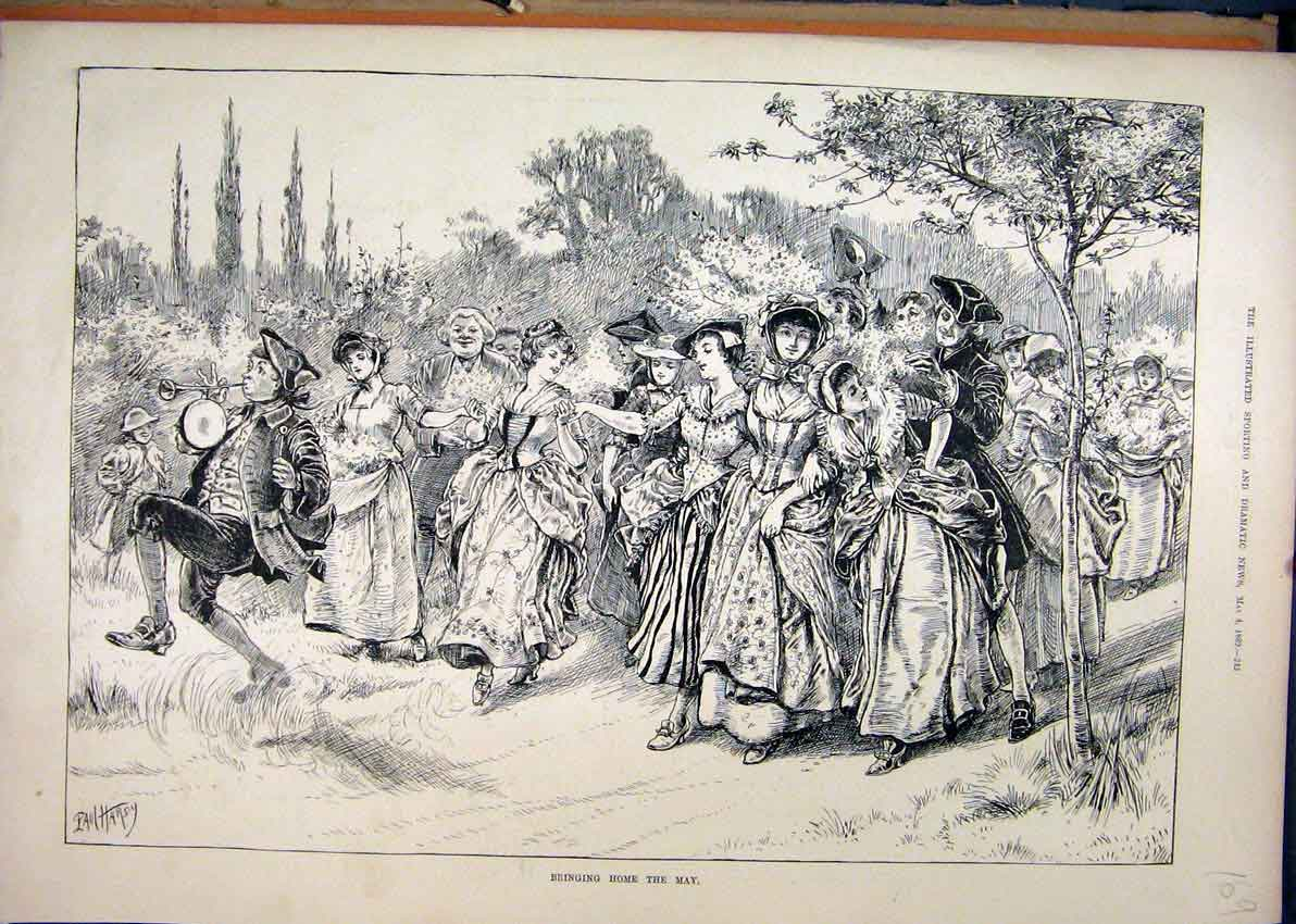 Print 1889 Bringing Home May Music Woman Men Marching Country 69Mar1 Old Original