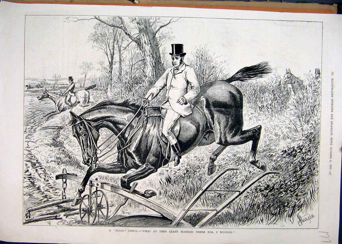 Print 1878 Horse Jumping Fence Landing Plough Field Country 77Mar1 Old Original