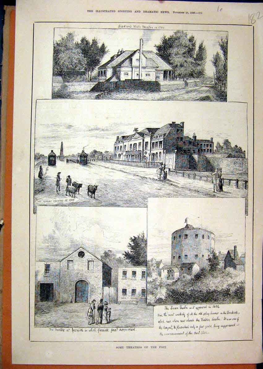 Print 1880 Theatres Past Swan Ipswich Surey Buildings 82Mar1 Old Original