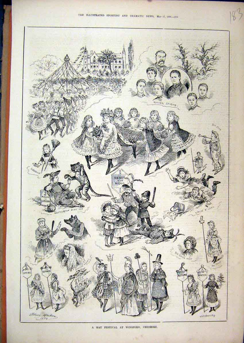 Print 1884 May Festival Winsford Cheshire Babes Wood Bo Peep 83Mar1 Old Original