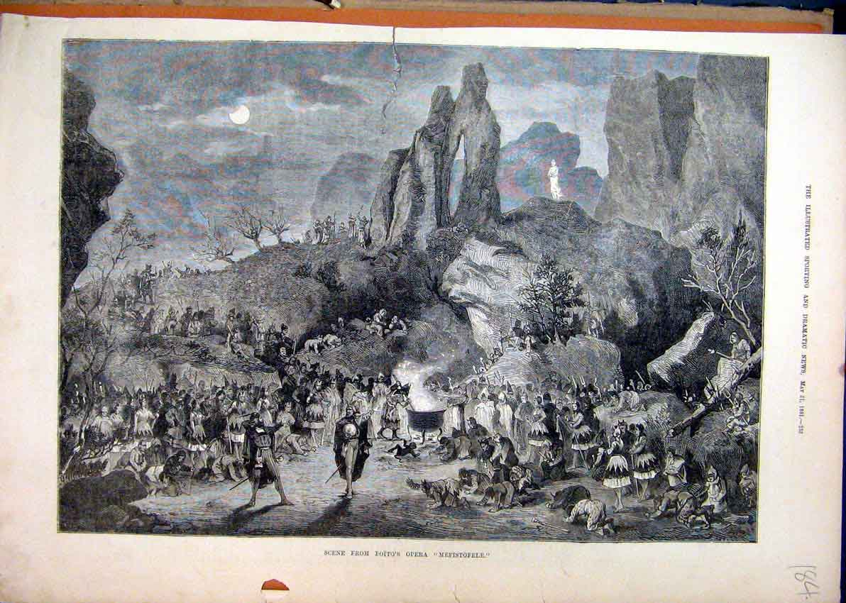Print 1881 Scene Boitos Opera Mefistofele Mountain Scene 84Mar1 Old Original