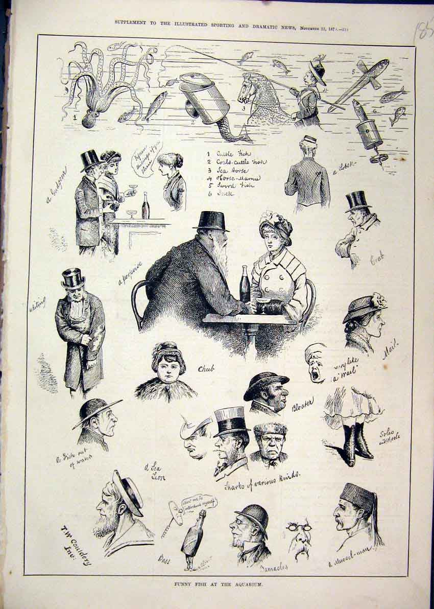 Print Funny Fish Aquarium 1879 Sword Castle Jack Comedy 85Mar1 Old Original