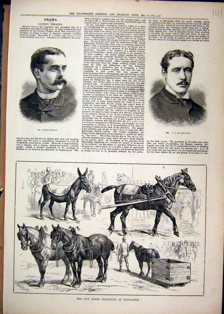 Print 1884 Portrait Oswald Paravicini Horse Newcastle May 91Mar1 Old Original