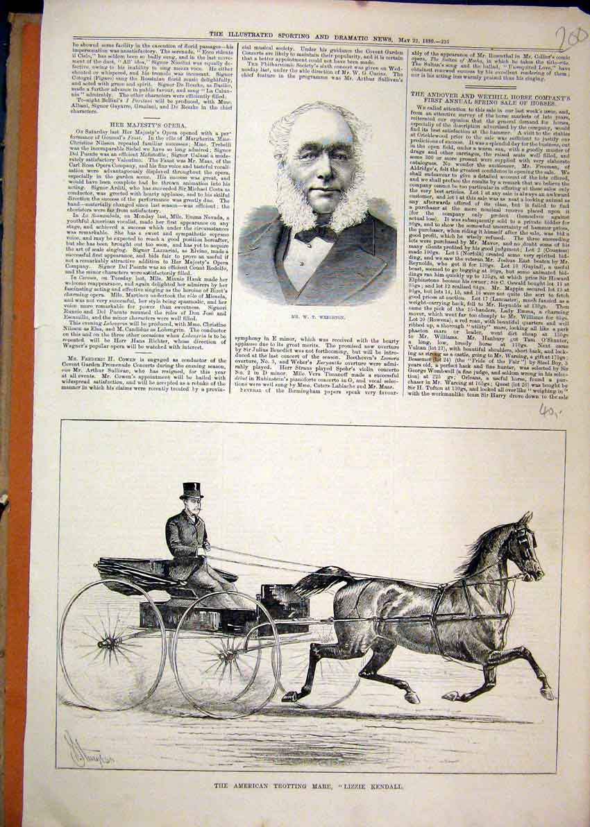 Print 1880 Portrait Wrighton American Trotting Mare Kendall 00Mar1 Old Original