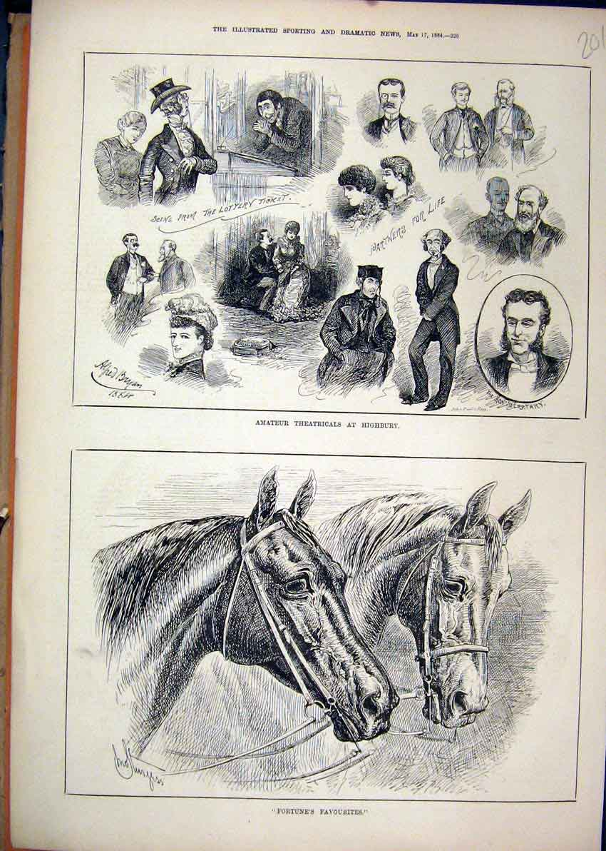 Print 1884 Amateur Theatricals Highbury Horses Portraits 01Mar1 Old Original