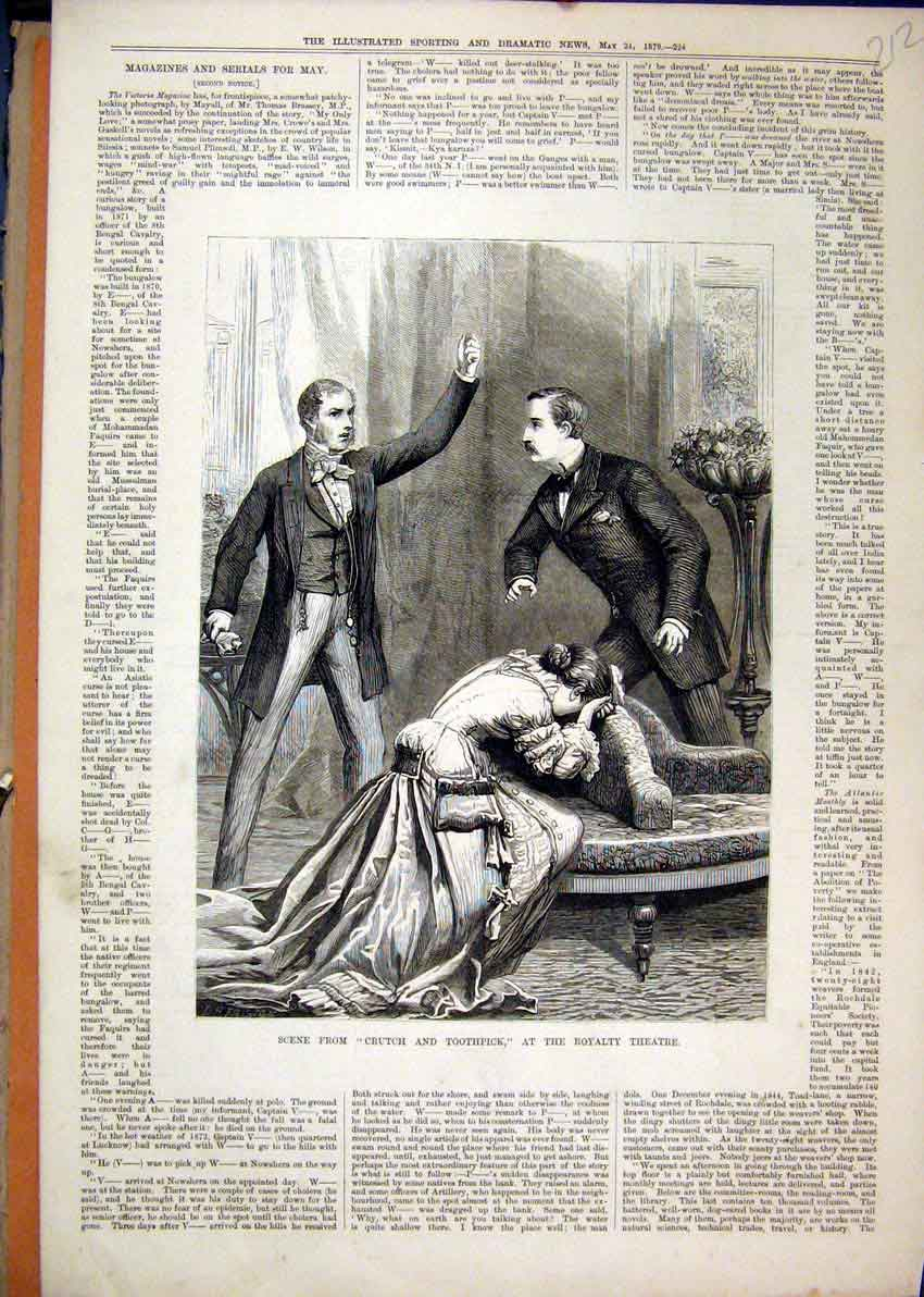 Print Theatre Scene 1879 Crutch Toothpick Royalty 12Mar1 Old Original