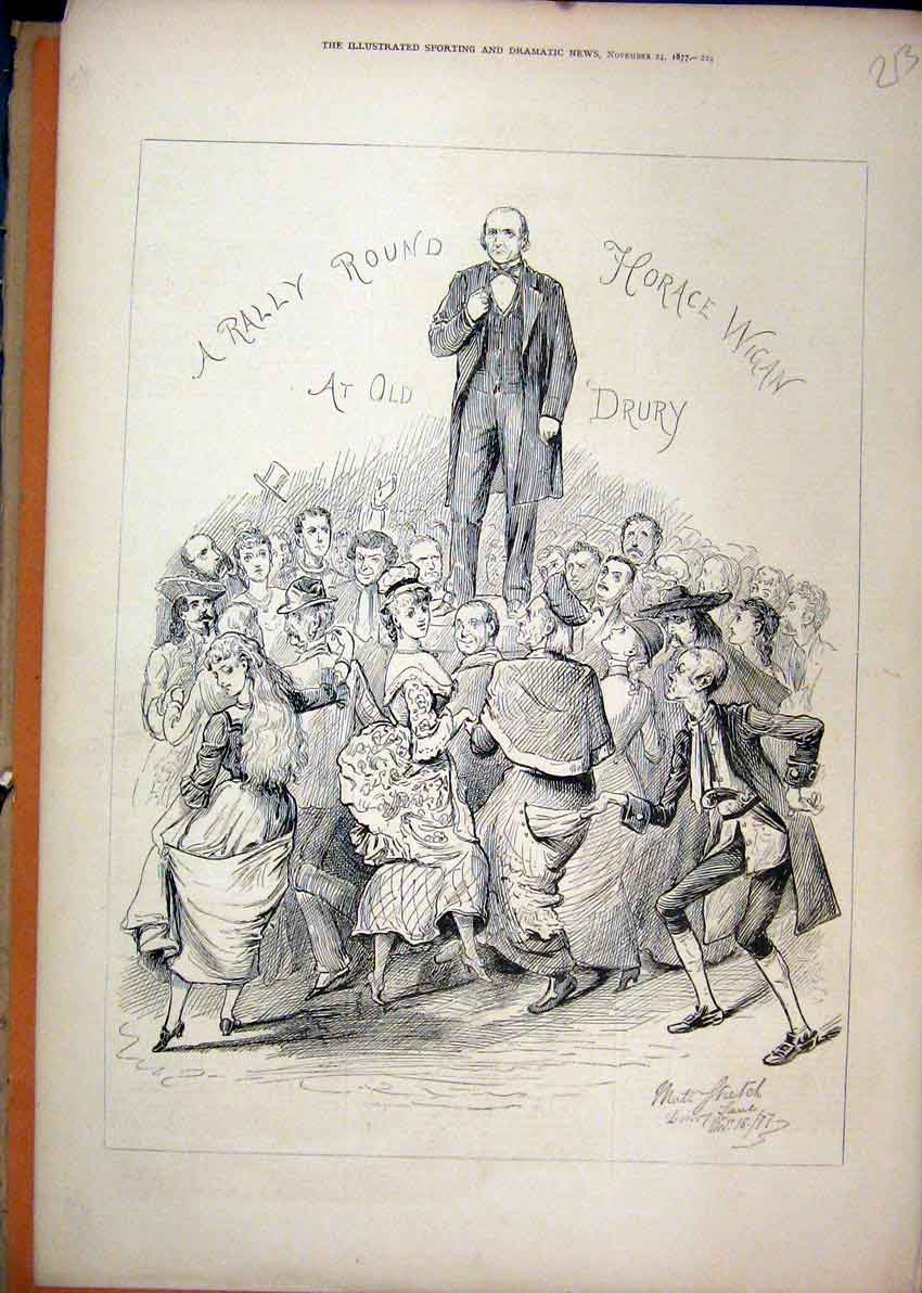 Print Dancing Horace Wigan 1877 Drury Lane Theatre 13Mar1 Old Original