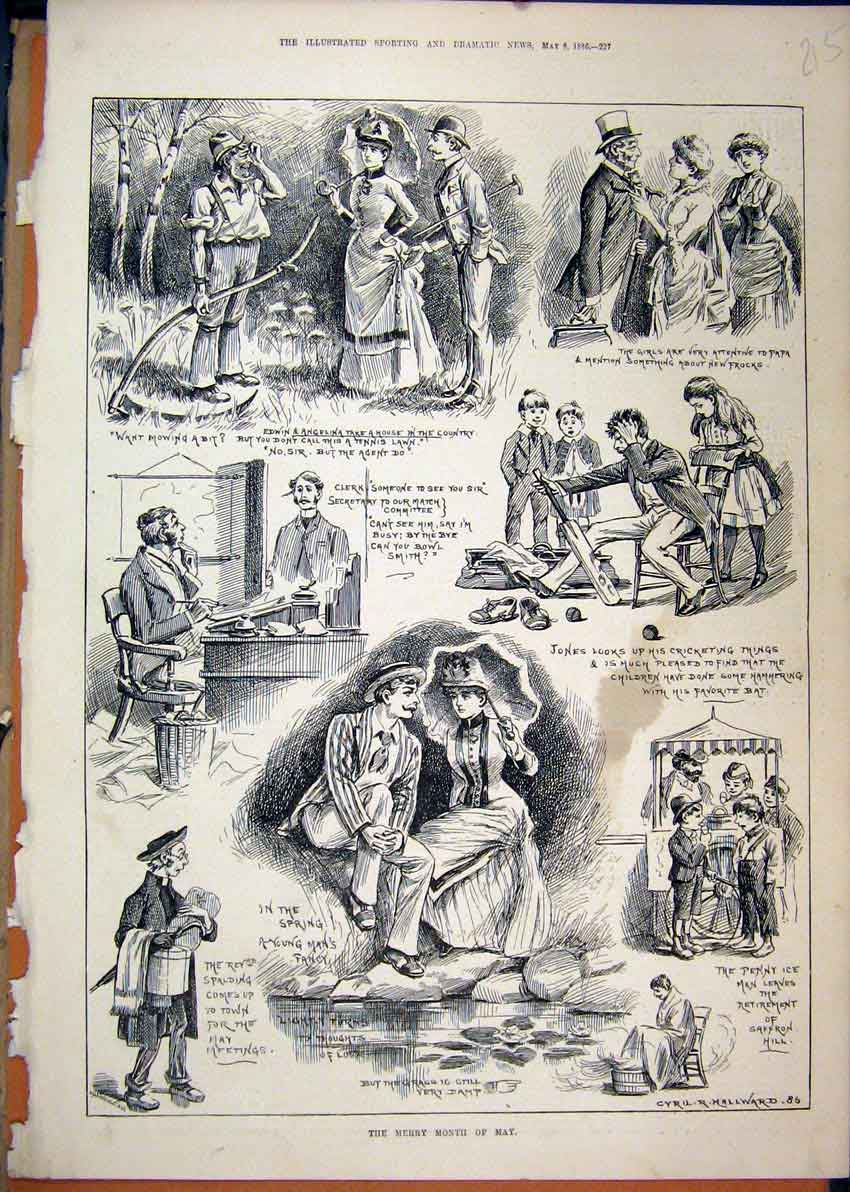 Print 1886 Merry Month May Romance Cricket Mowing Grass 15Mar1 Old Original