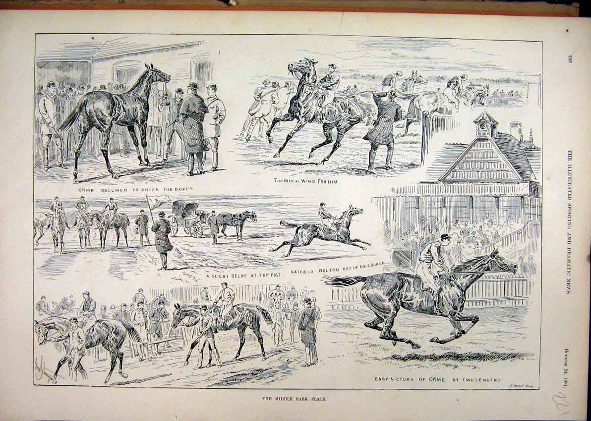 Print 1891 Middle Park Plate Horse Racing Orme Hatfield 21Mar1 Old Original