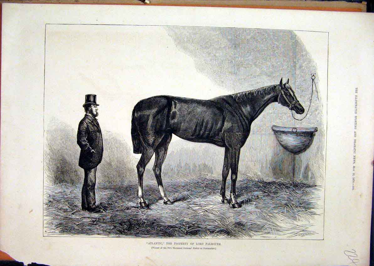 Print Horse 1874 Atlantic Lord Falmouth Newmarket Winner 24Mar1 Old Original